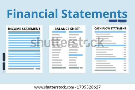 Financial statements concept vector. Income statement, balance sheet, cash flow statement flat illustration. Finance and accounting concept. Stockfoto ©