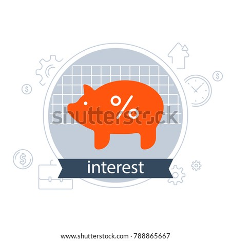 Financial strategy, piggy bank, interest rate concept, return on investment, budget planning, income growth, fund raising, percentage sign, savings account, finance loan, vector flat icon