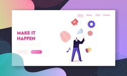 Financial Success Opportunity, Wealth Landing Page Template. Businessman Character Catch Inspiration with Net. Business Man Chase Inspirational Creative Idea Flying in Air, Cartoon Vector Illustration