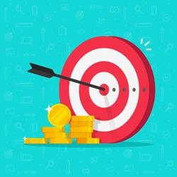 Financial target goal concept vector flat cartoon illustration, idea of marketing business money earnings aim, strategy achievement, success targeting audience modern design