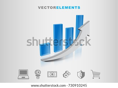 Financial Technology Graph 3D Vector with Set of Icons