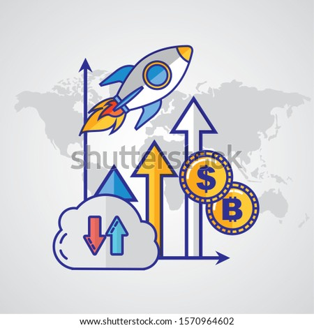 financial technology with rocket launcher vector illustration design