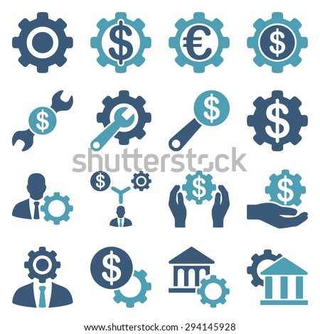 Financial tools and options icon set. Vector style: flat bicolor symbols, cyan and blue colors, rounded angles, white background.