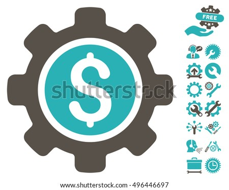 Financial Tools icon with bonus tools icon set. Vector illustration style is flat iconic bicolor symbols, grey and cyan colors, white background.