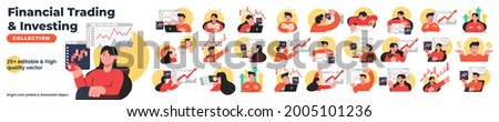 Financial trading and investing vector character set bundle. Collection of a man and woman trading on the stock exchange. Vector set illustration bundle collection