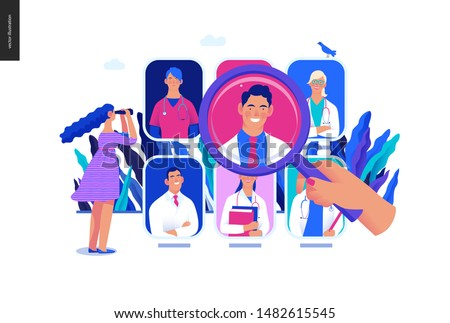 Find a doctor -medical insurance illustration -modern flat vector concept digital illustration - a hand with a magnifying glass, a woman with binocular, doctors portraits - a doctor searching metaphor