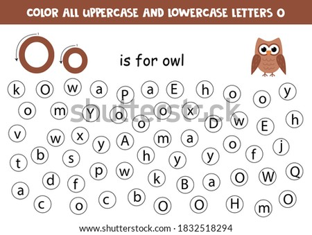 Find and color all letters O. Educational worksheet for learning alphabet. ABC letters. O is for owl. Foto stock ©