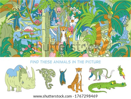 Find 7 animals in the picture. Hidden object puzzles. The rainforest and its inhabitants - leopard, rhino, python, parrot, bat, monkey and crocodile.