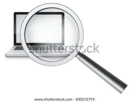 Find Concept. Laptop on Grey Gradient Background. Vector. - stock vector