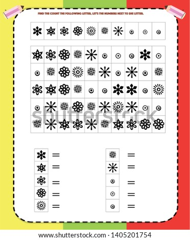 find, count and write, worksheet visual perception, dyslexia, perception, visual, kindergarten symbol work.geometric shapes.Sudoku for kids with colorful geometric figures. Game for preschool kids. V