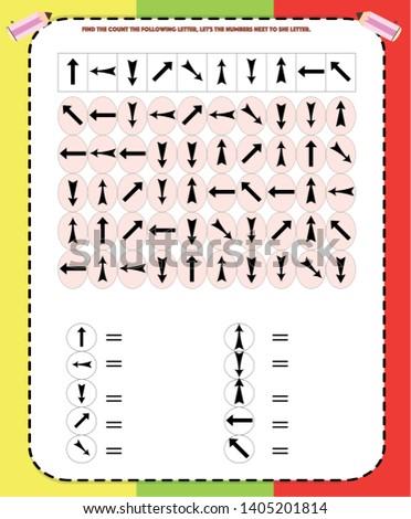 find, count and write, worksheet visual perception, dyslexia, perception, visual, kindergarten symbol work.geometric shapes.