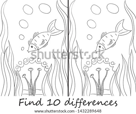 Find 10 differences cute fish in water for children developmental activities illustration. Two pictures with exotic fish. we need to find ten differences. puzzle for children 3-5 years. vector illustr