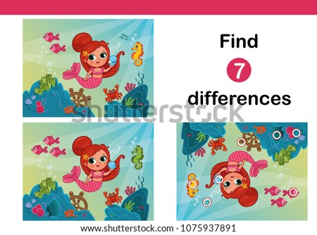 Find 7 differences education game for children, featuring mermaid.(Vector illustration)
