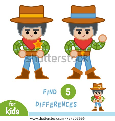 Find differences, education game for children, Sheriff