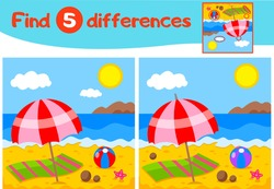 Find 5 differences education game for children, yellow beach and blue sea, sun in the clouds, red beach umbrella, the mountains, starfish, Vector illustration