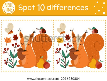 Find differences game for children. Autumn forest educational activity with squirrel and acorn. Printable worksheet with cute animal. Woodland puzzle for kids. Fall preschool sheet