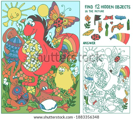 Find hidden objects. Dinosaur, bunnies, duck in the meadow dancing with Easter eggs. Puzzle for kids. Game for family celebration, school, party. Hand drawn vector.