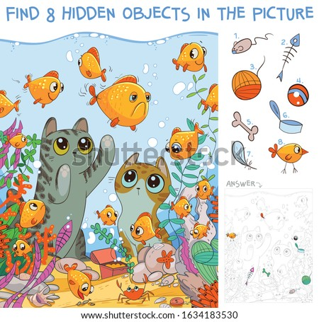 Find 8 hidden objects in the picture. Cats looking at fish in an aquarium. Puzzle Hidden Items. Funny cartoon character stock photo