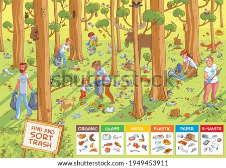 Find hidden objects in the picture. Find and sort the trash. Family collecting garbage in the forest. Find all animals. Puzzle Hidden Items. Funny cartoon character. Vector illustration. Set
