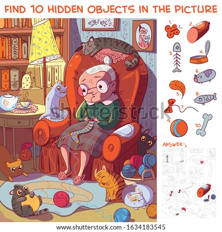 Find 10 hidden objects in the picture. Grandmother sitting on the armchair and knits socks surrounded by her cats. Puzzle Hidden Items. Funny cartoon character