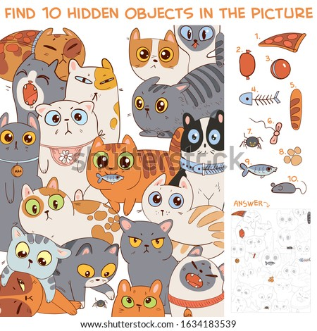 Find 10 hidden objects in the picture. Group of different cats. Puzzle Hidden Items. Funny cartoon character