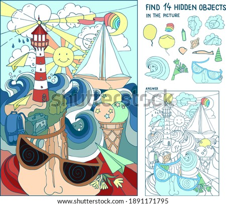 Find  hidden objects. Marine picture. Lighthouse, shore, sea. Find the hidden rainbow, 5 people faces, 2 balloon, heart, pencil, fish, birthday hat, flower bouquet, picture with mountains. Worksheet.