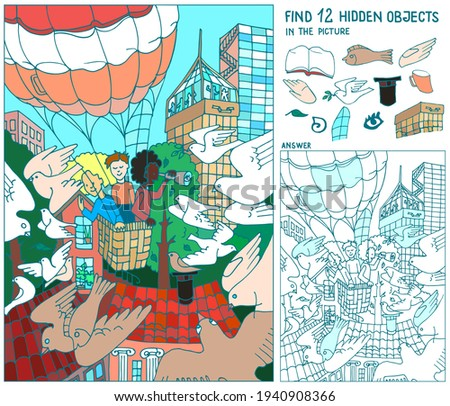 Find  hidden objects. People fly Air balloon in the city above the buildings. Doves are flying.  Puzzle hidden items. Hand drawn vector.  Worksheet.