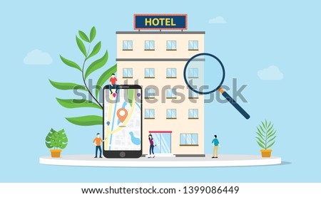 find hotel or search hotels concept with smartphone maps gps location and building with team people and modern flat style - vector