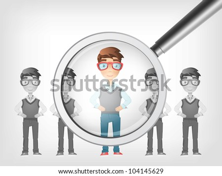 Find Human Concept. Grey Gradient Background. Vector EPS 10. - stock vector