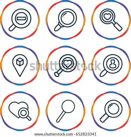 find icons set set of 9 find