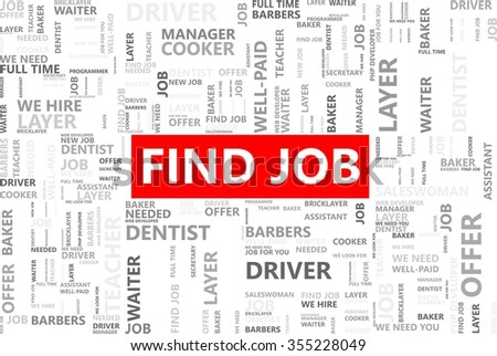 Find job word in tag cloud, Career or employment concept, Vector graphics