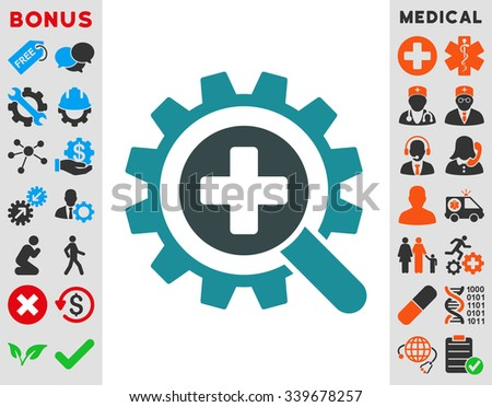 Find Medical Technology vector icon with bonus. Style is bicolor flat symbol, soft blue colors, rounded angles, white background.