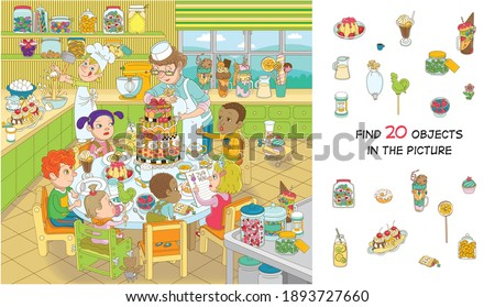 Find 20 objects in the picture. Hidden objects puzzle. Children of different nationalities are celebrating their birthday. Funny cartoon character. Foto stock ©
