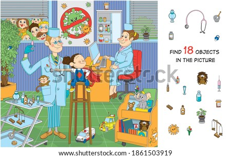 Find 18 objects in the picture. Hidden objects puzzle. The brave child is not afraid of vaccination. Funny cartoon character.