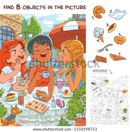 Find 8 objects in the picture. Puzzle Hidden Items. Cute girlfriends talking in a cafe. Funny cartoon character