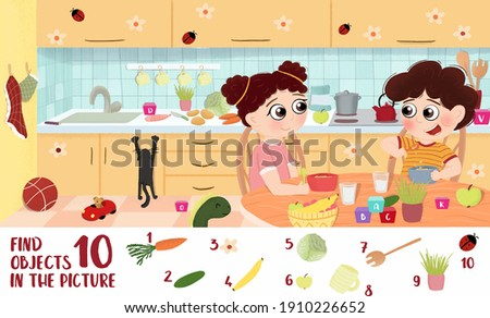Find 10 objects in the picture.Puzzle Hidden Items for children's. Healthy foods for children. Fruits and vegetables in children's illustrations
