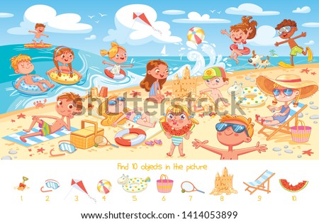 Find 10 objects in the picture. Puzzle Hidden Items. Group of kids having fun on beach. Child swimming with inflatable rubber circle and flippers, sunbathe on the beach, build sand castle stock photo
