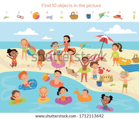 Find 10 objects in the picture. Puzzle Hidden Items. Group of kids having fun on the beach. Vector illustration stock photo