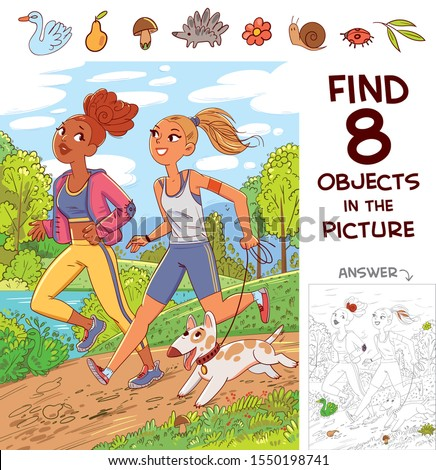 Find 8 objects in the picture. Puzzle Hidden Items. Two girls jogging with a dog. Funny cartoon character