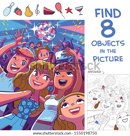 Find 8 objects in the picture. Puzzle Hidden Items. Young people take a selfie at a disco party. Funny cartoon character