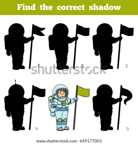 Find the correct shadow, education game for children, Astronaut