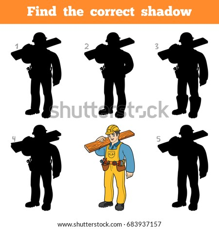 Find the correct shadow, education game for children, Builder
