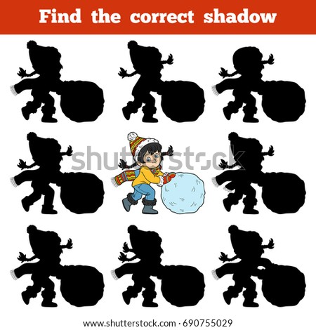 Find the correct shadow, education game for children, Girl and a ball of snow