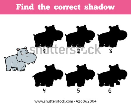 Find the correct shadow, education game for children. Little hippo