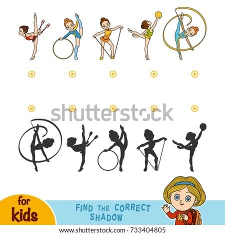 Find the correct shadow, education game for children. Rhythmic gymnastics