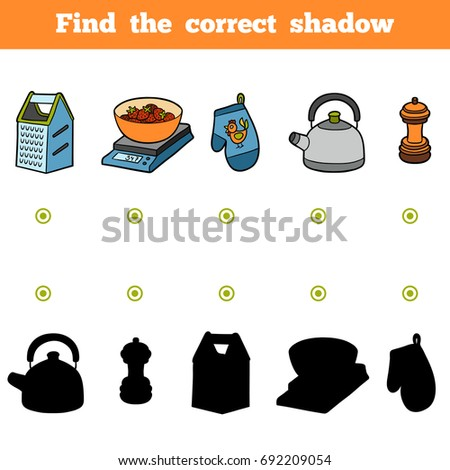 Find the correct shadow, education game for children. Set of kitchen utensils