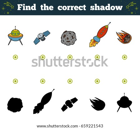 Find the correct shadow, education game for children. Space objects