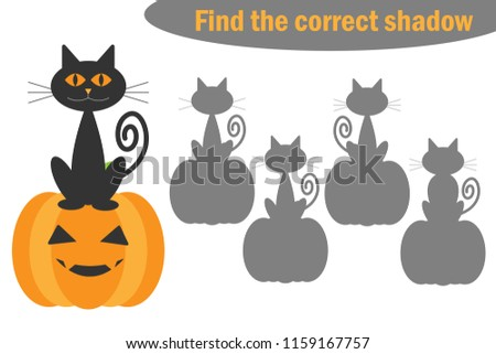 Find the correct shadow, halloween game for children, cartoon cat and pumpkin, education game for kids, preschool worksheet activity, task for the development of logical thinking, vector illustration