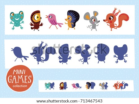 Find the correct shadow. Mini games collections. Forest animals.