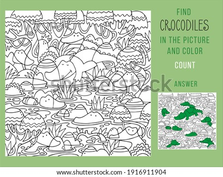 Find the crocodiles and color, count. Games for Children. Puzzle Hidden Items. Funny cartoon character. Vector illustration.